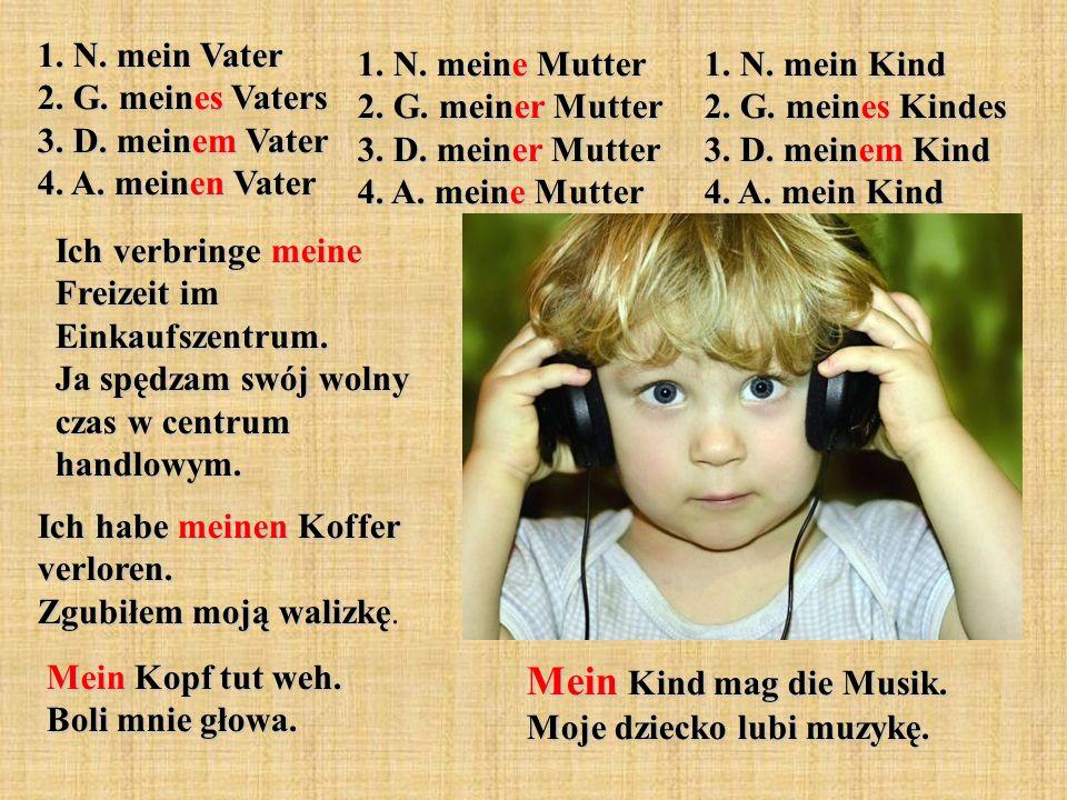 1. N. mein Vater 2. G. meines Vaters 3. D. meinem Vater 4. A. meinen Vater 1. N. meine Mutter 2. G. meiner Mutter 3. D. meiner Mutter 4. A. meine Mutt