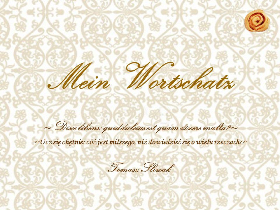 Mein Wortschatz ~Ucz się chętnie: cóż jest milszego, niż dowiedzieć się o wielu rzeczach ~ Tomasz Sliwak ~Disce libens: quid dulcius est quam discere multa ~