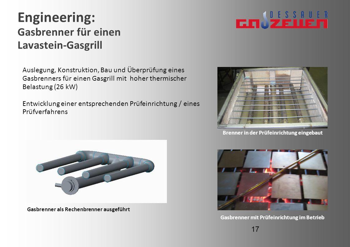 Engineering: Gasbrenner für einen Lavastein-Gasgrill Auslegung, Konstruktion, Bau und Überprüfung eines Gasbrenners für einen Gasgrill mit hoher therm