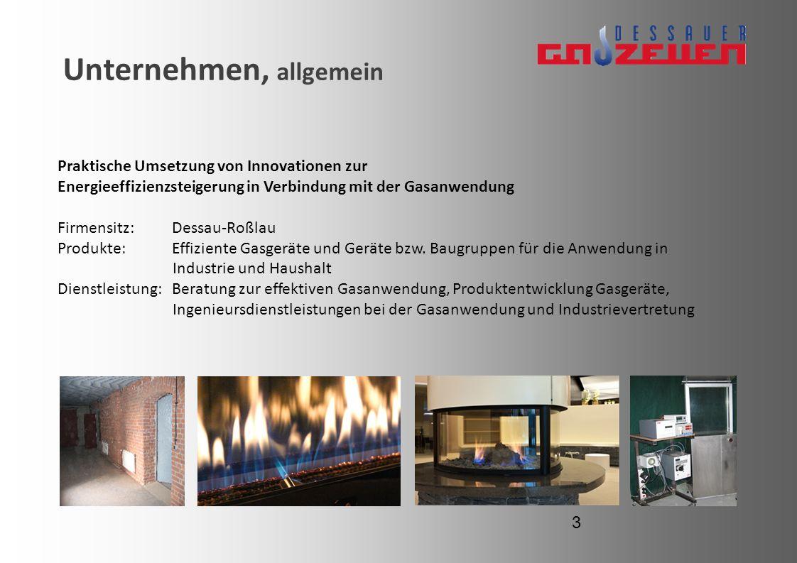 Unternehmen, allgemein Praktische Umsetzung von Innovationen zur Energieeffizienzsteigerung in Verbindung mit der Gasanwendung Firmensitz: Dessau-Roßl