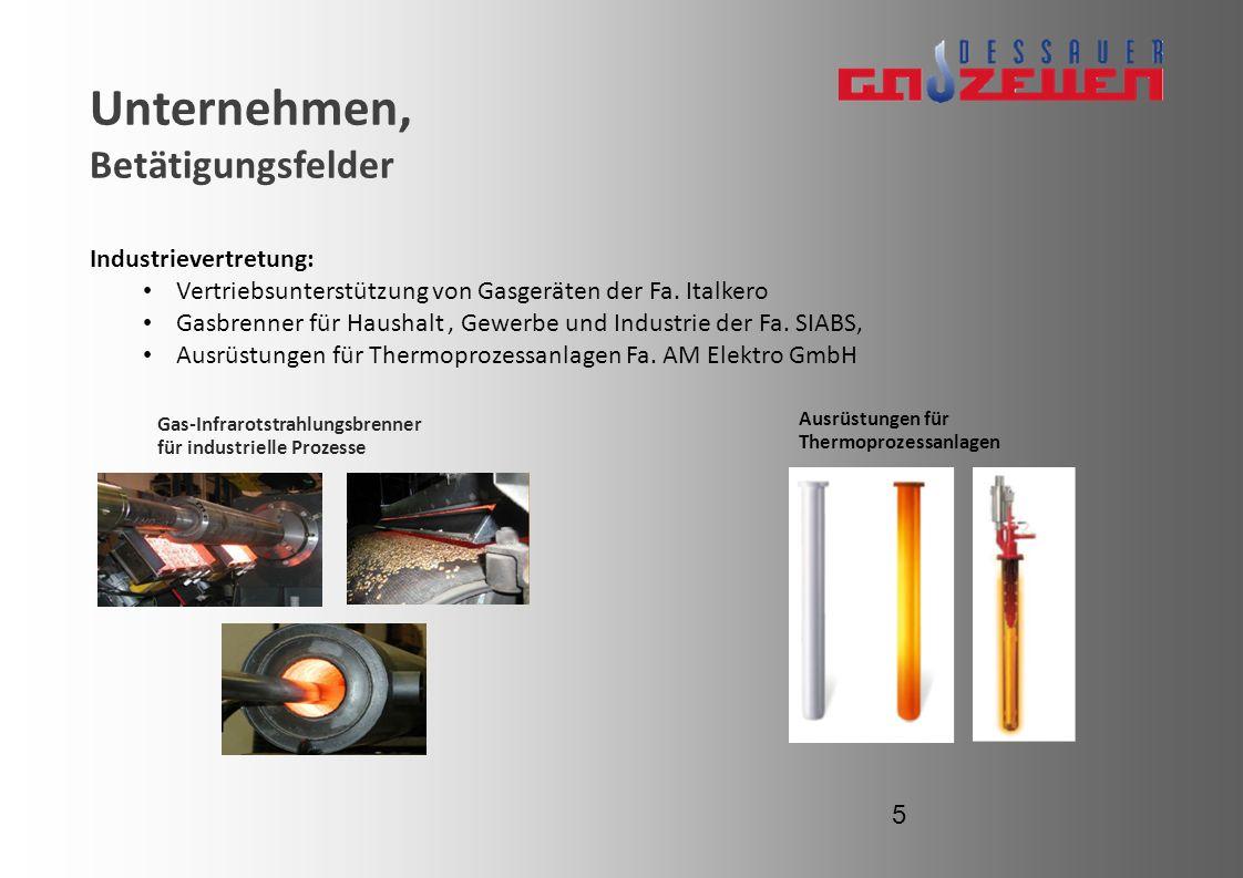 Unternehmen, Betätigungsfelder Gas-Infrarotstrahlungsbrenner für industrielle Prozesse Ausrüstungen für Thermoprozessanlagen 5 Industrievertretung: Ve