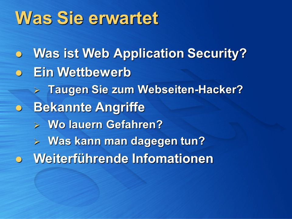 Was Sie erwartet Was ist Web Application Security.