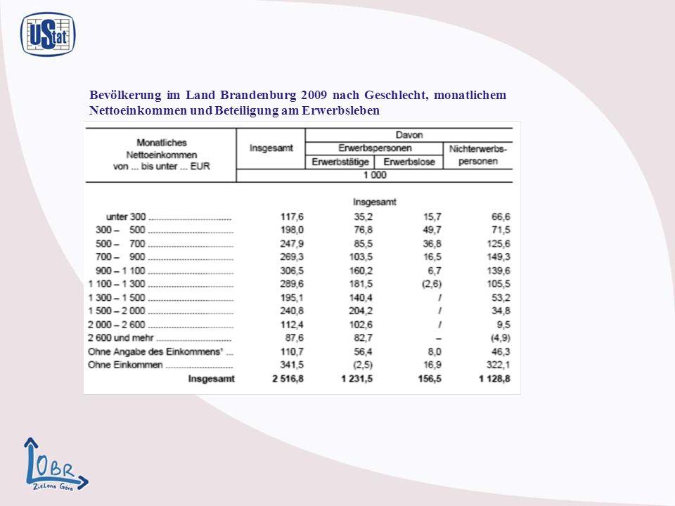 Bevölkerung im Land Brandenburg 2009 nach Geschlecht, monatlichem Nettoeinkommen und Beteiligung am Erwerbsleben