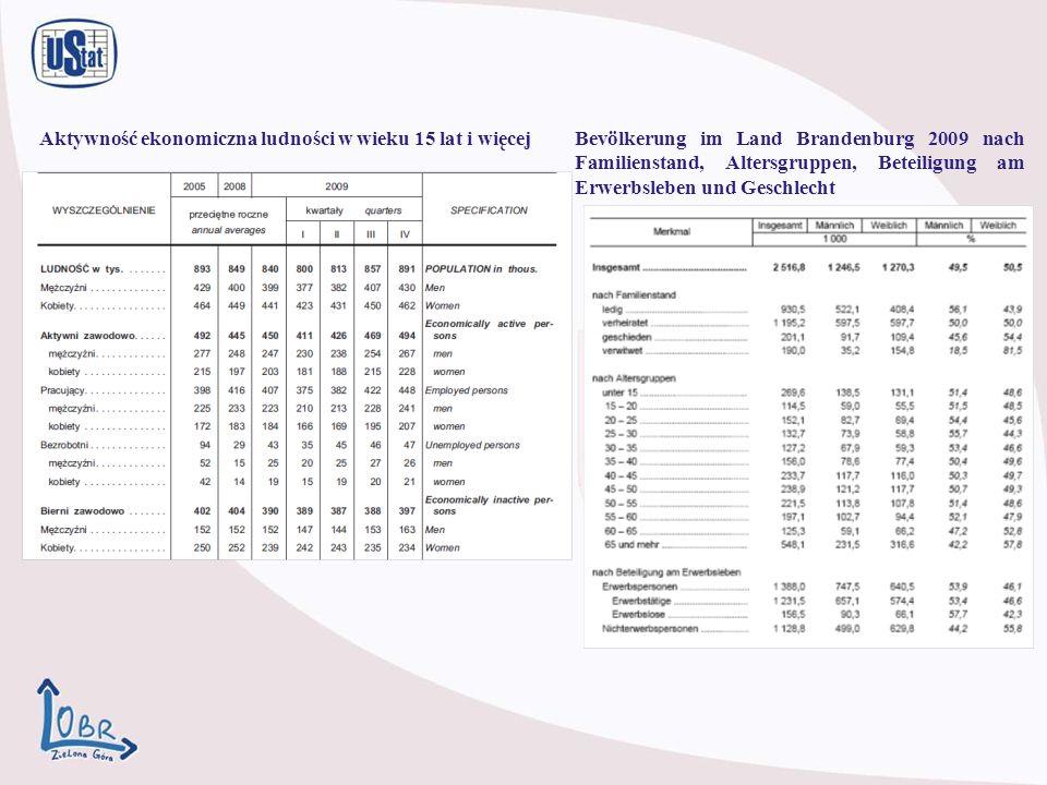 Bevölkerung im Land Brandenburg 2009 nach Familienstand, Altersgruppen, Beteiligung am Erwerbsleben und Geschlecht Aktywność ekonomiczna ludności w wieku 15 lat i więcej