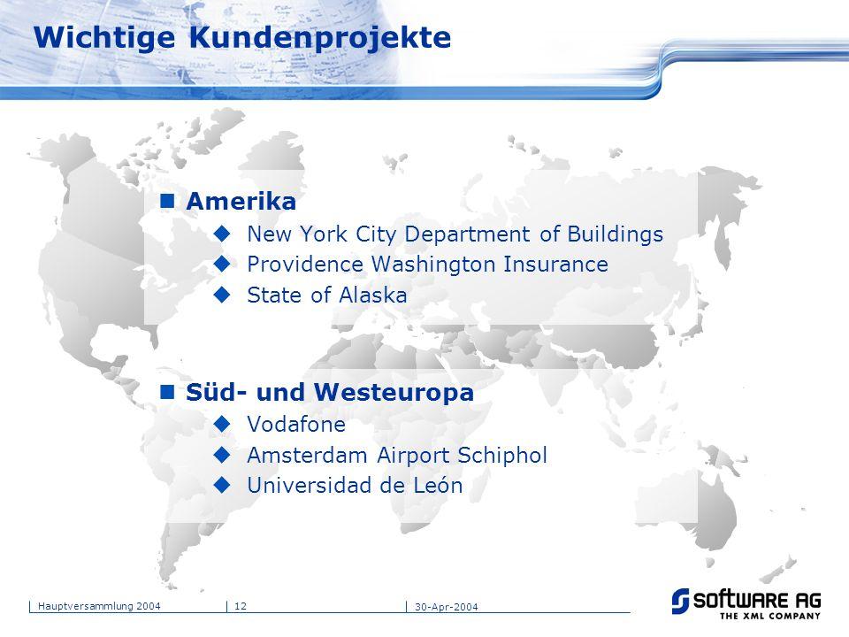 12Hauptversammlung 2004 30-Apr-2004 Wichtige Kundenprojekte Amerika New York City Department of Buildings Providence Washington Insurance State of Ala