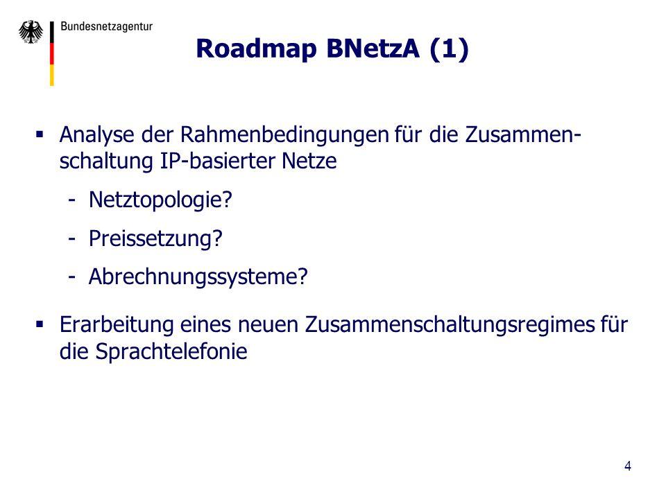 5 Roadmap BNetzA (2) Aufzeigen von Migrationspfaden Marktdefinitionen und –analyse, Regulierungsverfügungen Später ggf.