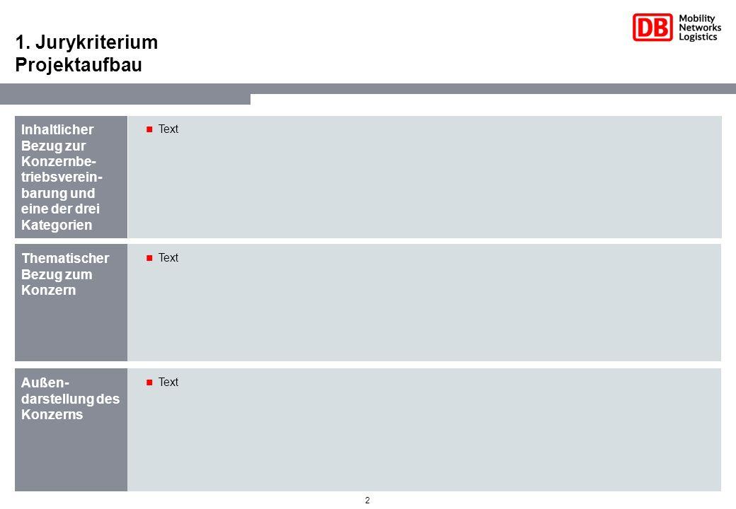 2 1. Jurykriterium Projektaufbau Inhaltlicher Bezug zur Konzernbe- triebsverein- barung und eine der drei Kategorien Text Thematischer Bezug zum Konze