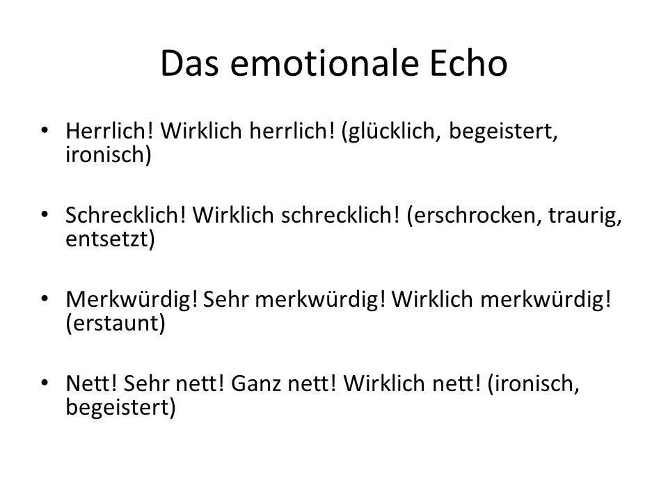 Das emotionale Echo Herrlich! Wirklich herrlich! (glücklich, begeistert, ironisch) Schrecklich! Wirklich schrecklich! (erschrocken, traurig, entsetzt)