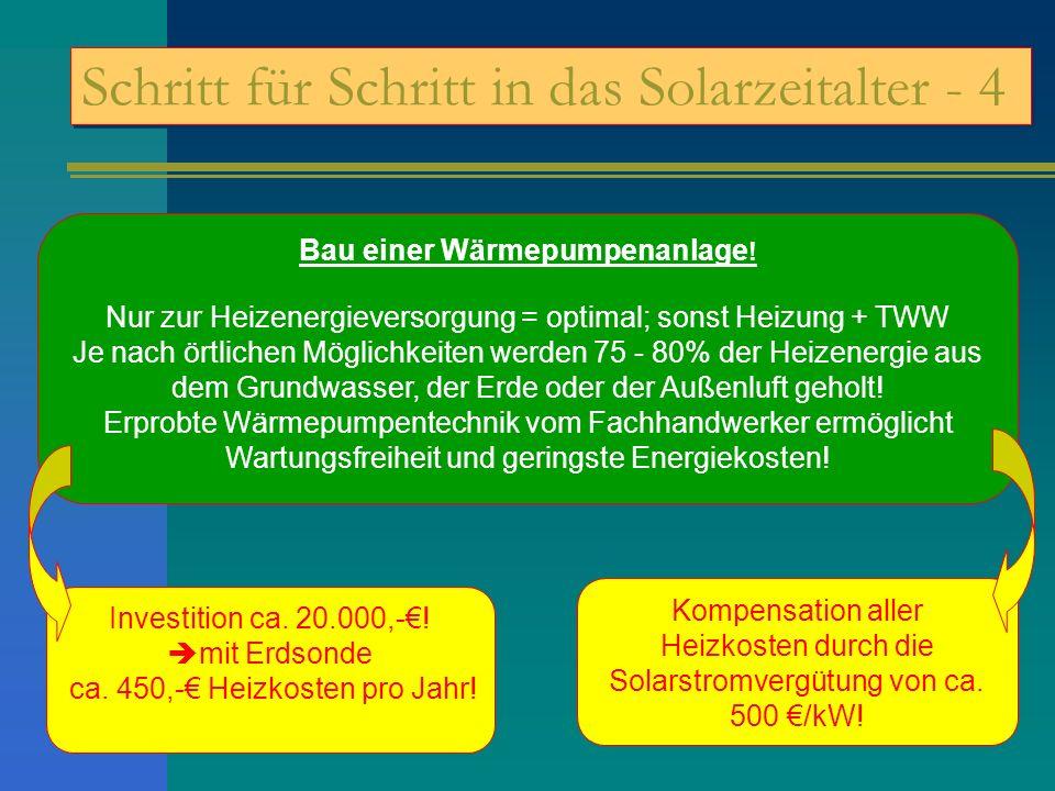 Schritt für Schritt in das Solarzeitalter - 4 Bau einer Wärmepumpenanlage ! Nur zur Heizenergieversorgung = optimal; sonst Heizung + TWW Je nach örtli