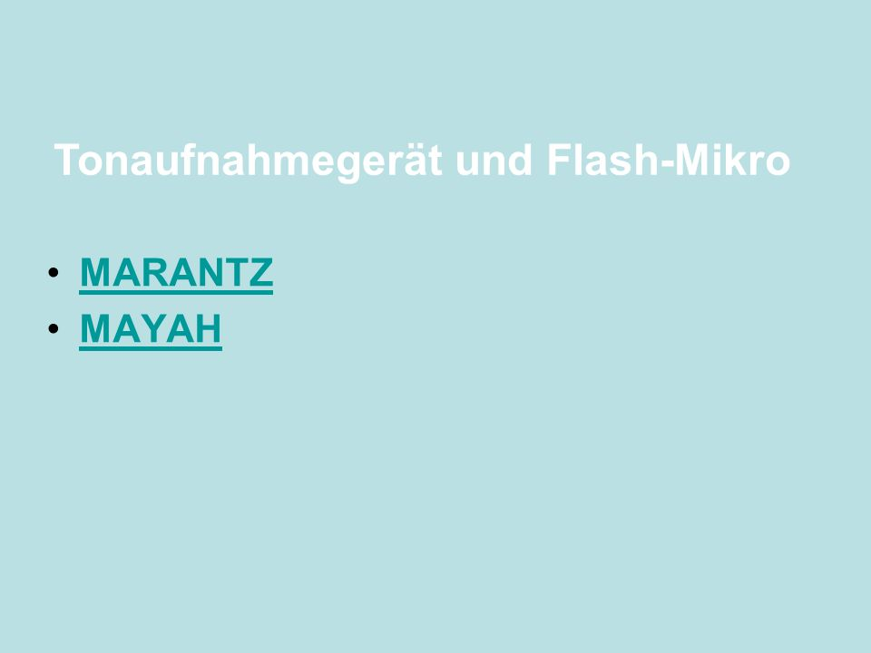 MARANTZ MAYAH Tonaufnahmegerät und Flash-Mikro