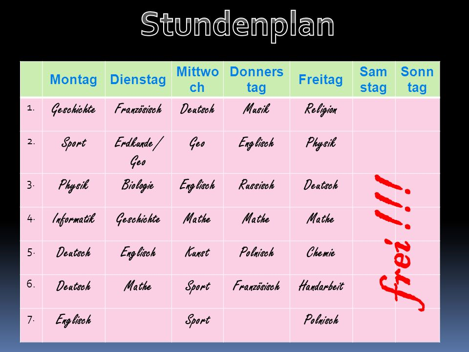 MontagDienstag Mittwo ch Donners tag Freitag Sam stag Sonn tag 1.