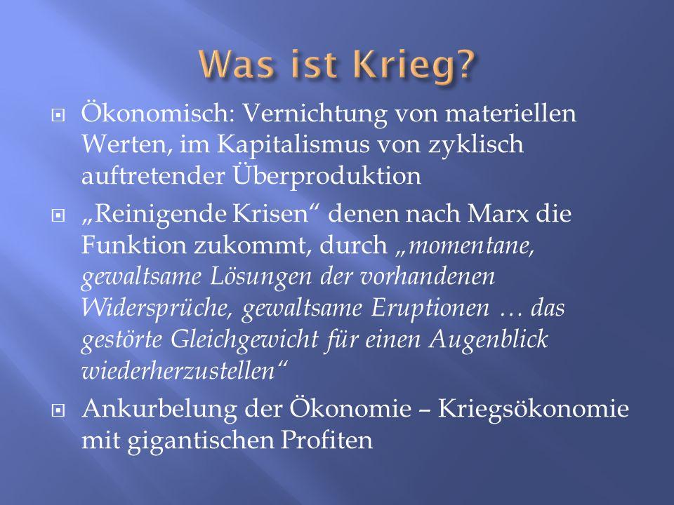 Ökonomisch: Vernichtung von materiellen Werten, im Kapitalismus von zyklisch auftretender Überproduktion Reinigende Krisen denen nach Marx die Funktio