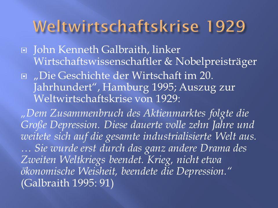 John Kenneth Galbraith, linker Wirtschaftswissenschaftler & Nobelpreisträger Die Geschichte der Wirtschaft im 20. Jahrhundert, Hamburg 1995; Auszug zu