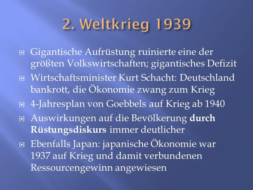 Gigantische Aufrüstung ruinierte eine der größten Volkswirtschaften; gigantisches Defizit Wirtschaftsminister Kurt Schacht: Deutschland bankrott, die