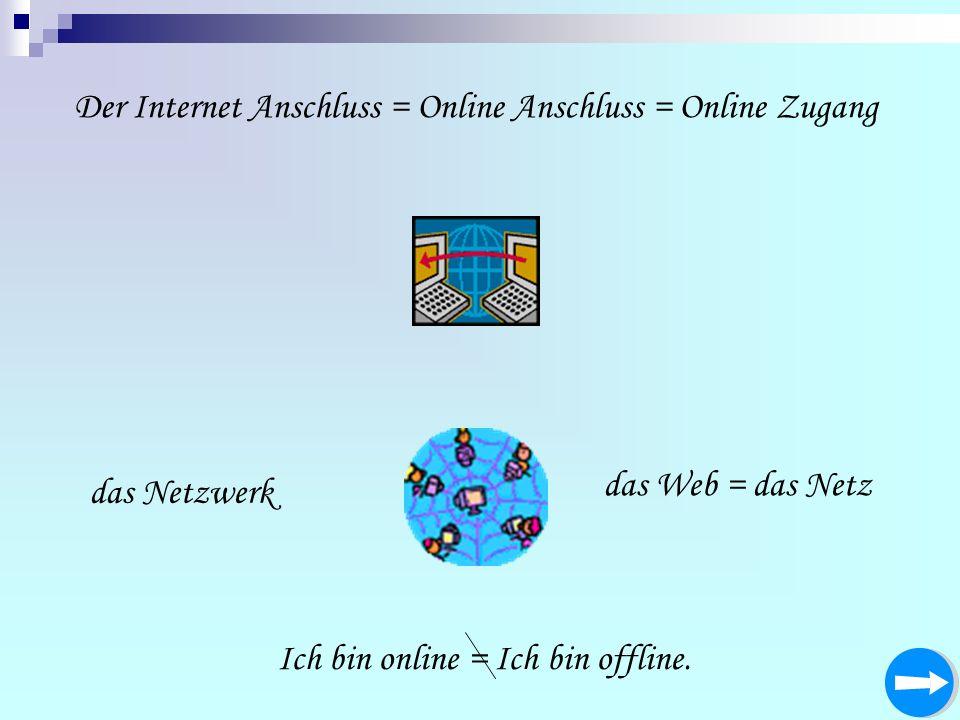Der Internet Anschluss = Online Anschluss = Online Zugang Ich bin online = Ich bin offline. das Netzwerk das Web = das Netz