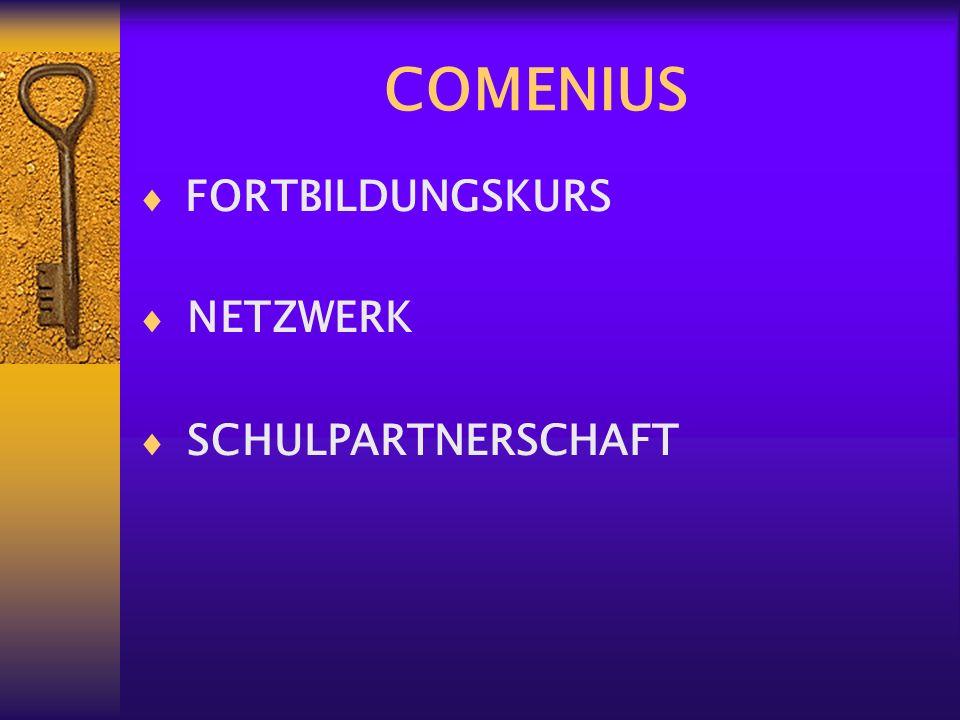 COMENIUS FORTBILDUNGSKURS NETZWERK SCHULPARTNERSCHAFT