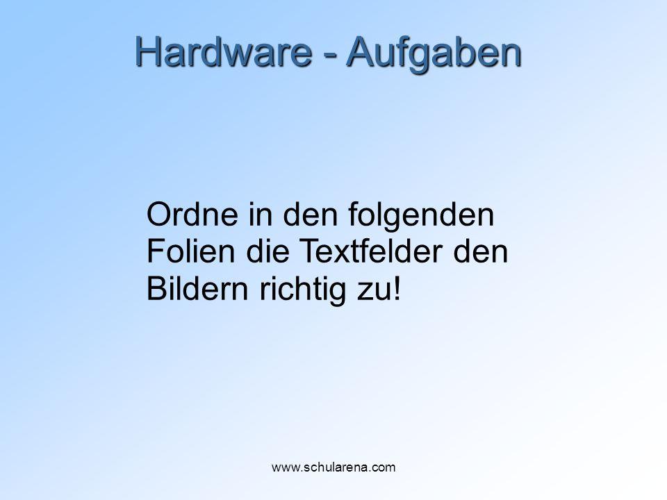 Hardware - Aufgaben Ordne in den folgenden Folien die Textfelder den Bildern richtig zu! www.schularena.com