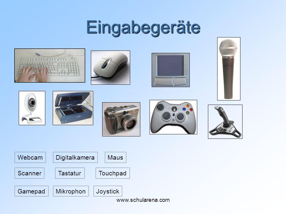 Eingabegeräte Tastatur Maus Touchpad Webcam JoystickGamepadMikrophon Scanner Digitalkamera www.schularena.com