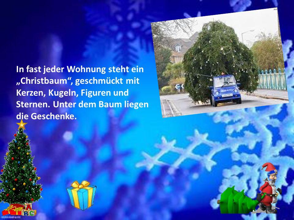 Weihnachten ist das größte Fest in Deutschland. Der 25. Und der 26. Dezember sind die Weihnachtsfeiertage. Am 24. Dezember ist der Heilige Abend. An d