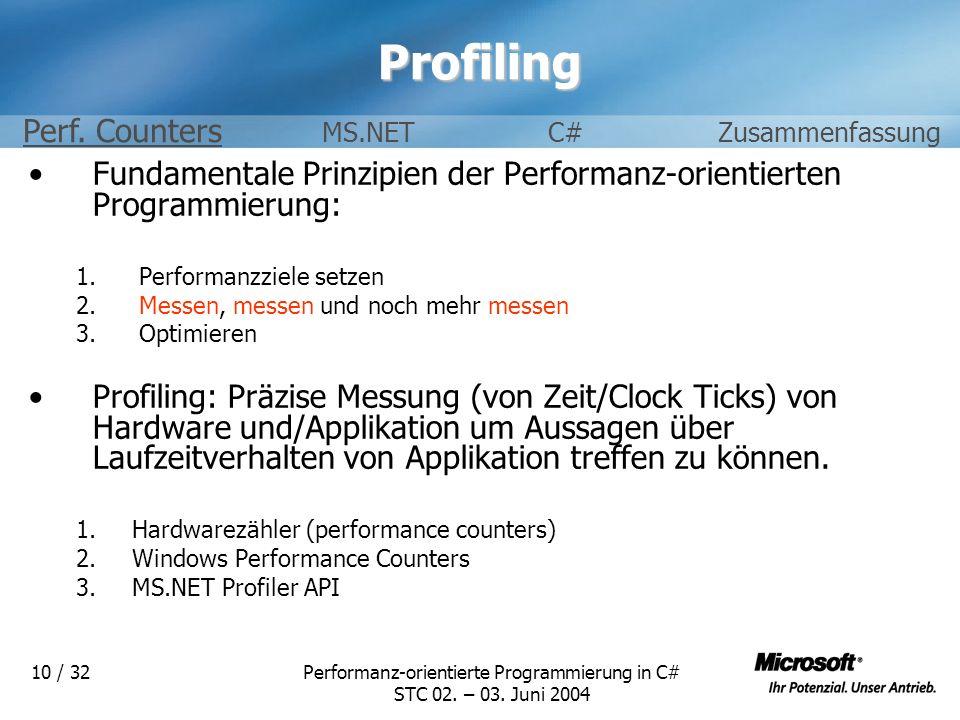Performanz-orientierte Programmierung in C# STC 02. – 03. Juni 2004 10 / 32Profiling Fundamentale Prinzipien der Performanz-orientierten Programmierun