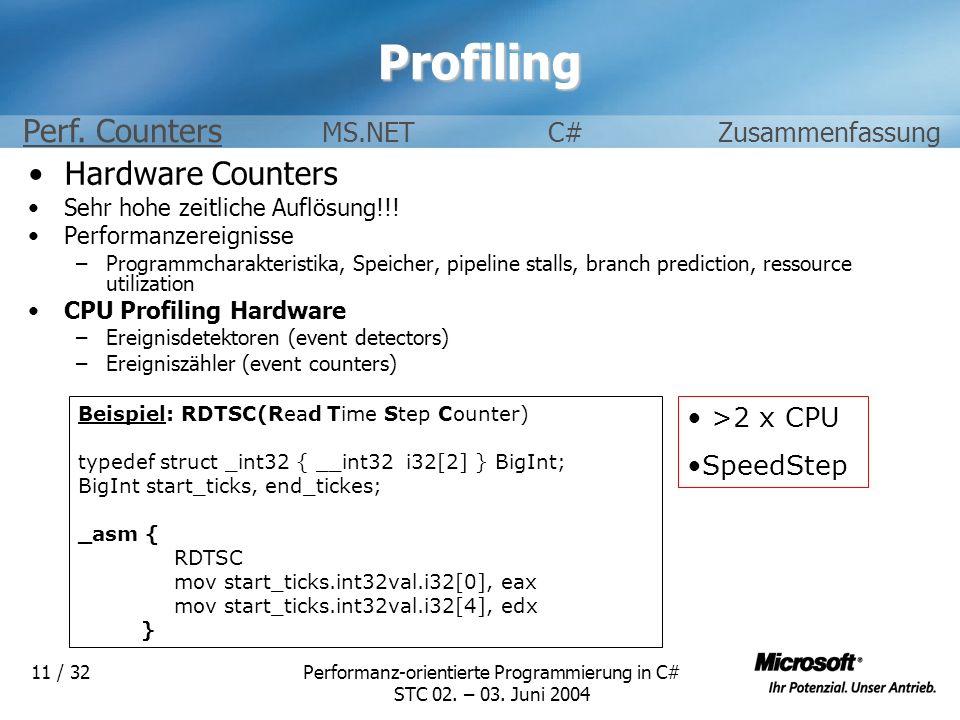 Performanz-orientierte Programmierung in C# STC 02. – 03. Juni 2004 11 / 32Profiling Hardware Counters Sehr hohe zeitliche Auflösung!!! Performanzerei