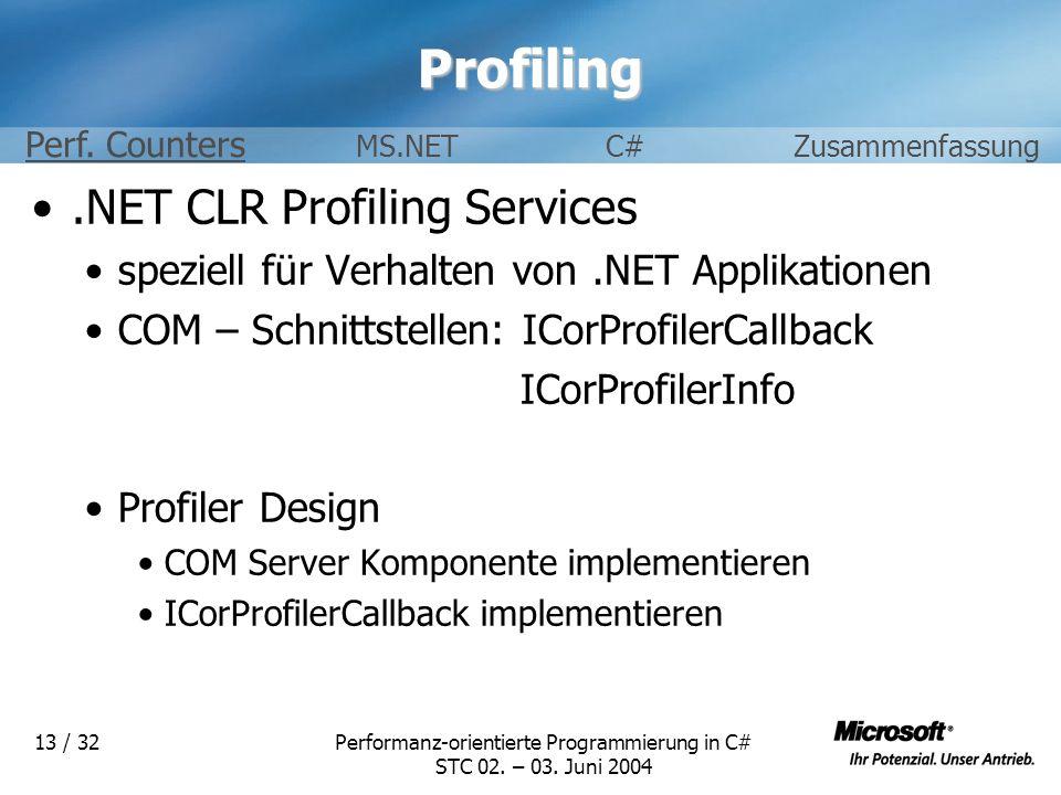 Performanz-orientierte Programmierung in C# STC 02. – 03. Juni 2004 13 / 32Profiling.NET CLR Profiling Services speziell für Verhalten von.NET Applika