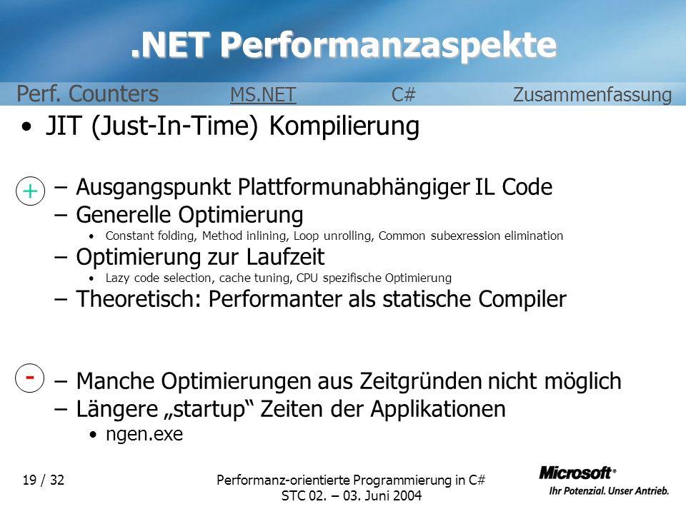 Performanz-orientierte Programmierung in C# STC 02. – 03. Juni 2004 19 / 32.NET Performanzaspekte JIT (Just-In-Time) Kompilierung –Ausgangspunkt Platt