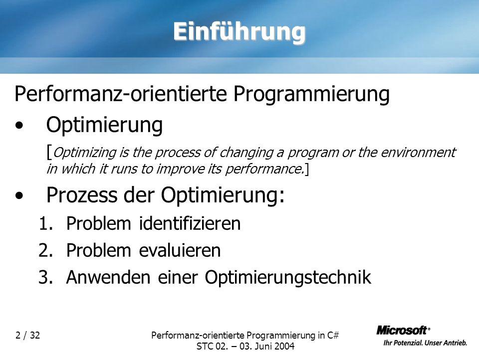 Performanz-orientierte Programmierung in C# STC 02. – 03. Juni 2004 2 / 32Einführung Performanz-orientierte Programmierung Optimierung [ Optimizing is