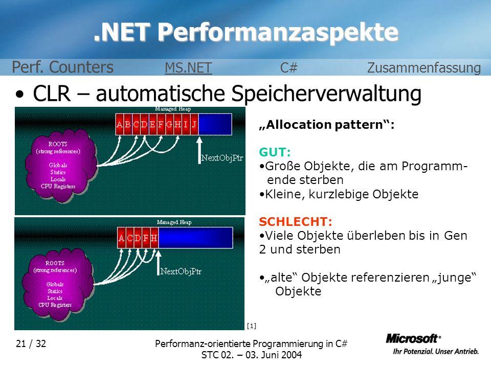 Performanz-orientierte Programmierung in C# STC 02. – 03. Juni 2004 21 / 32.NET Performanzaspekte CLR – automatische Speicherverwaltung [1] Allocation