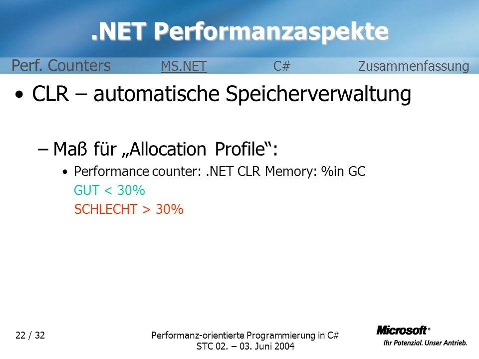 Performanz-orientierte Programmierung in C# STC 02. – 03. Juni 2004 22 / 32.NET Performanzaspekte CLR – automatische Speicherverwaltung –Maß für Alloc