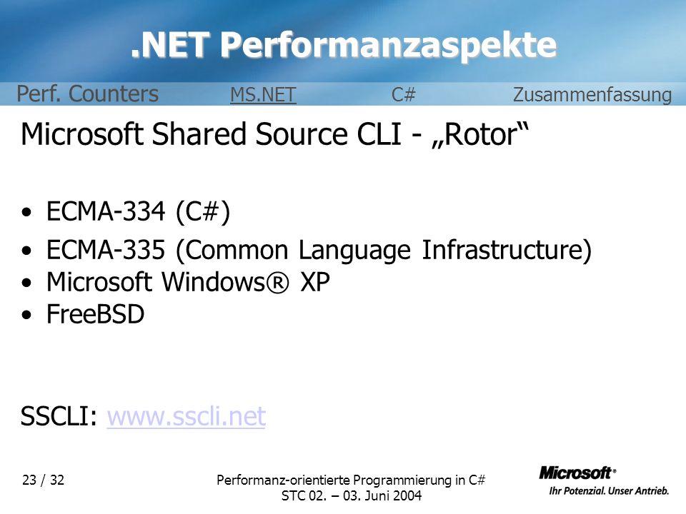 Performanz-orientierte Programmierung in C# STC 02. – 03. Juni 2004 23 / 32.NET Performanzaspekte Microsoft Shared Source CLI - Rotor ECMA-334 (C#) EC