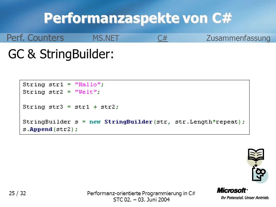 Performanz-orientierte Programmierung in C# STC 02. – 03. Juni 2004 25 / 32 Performanzaspekte von C# GC & StringBuilder: Perf. Counters MS.NETC#Zusamm