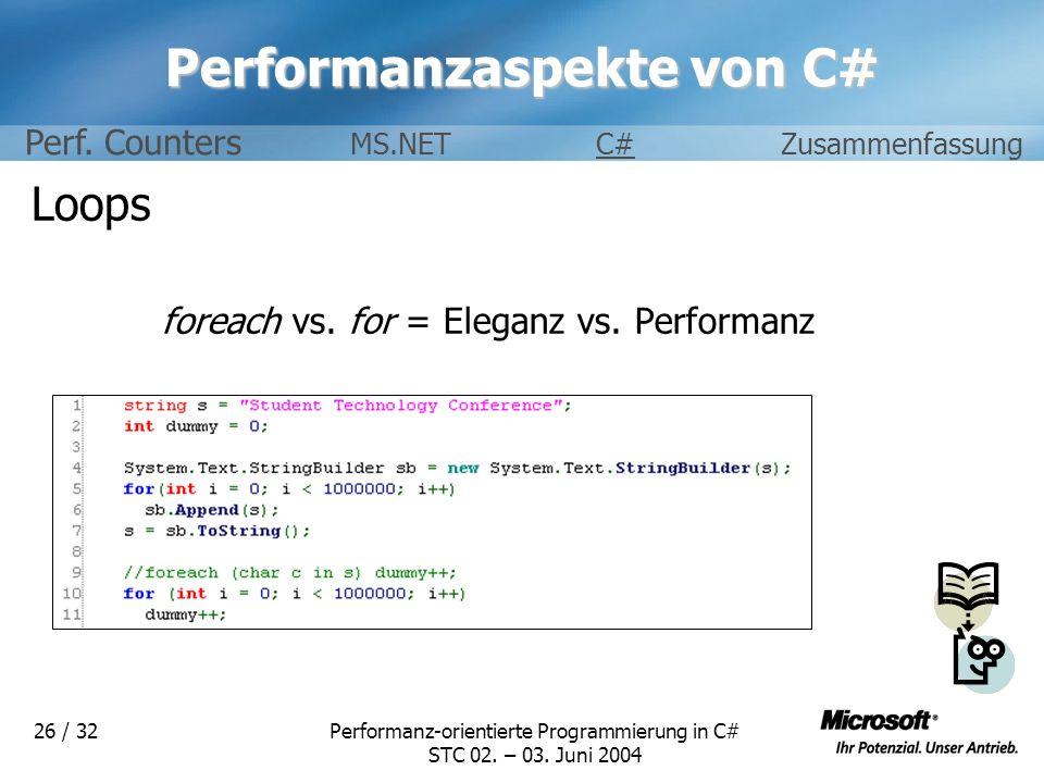 Performanz-orientierte Programmierung in C# STC 02. – 03. Juni 2004 26 / 32 Performanzaspekte von C# Loops foreach vs. for = Eleganz vs. Performanz Pe