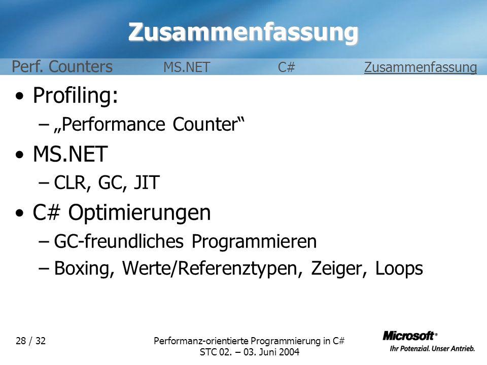 Performanz-orientierte Programmierung in C# STC 02. – 03. Juni 2004 28 / 32Zusammenfassung Profiling: –Performance Counter MS.NET –CLR, GC, JIT C# Opt