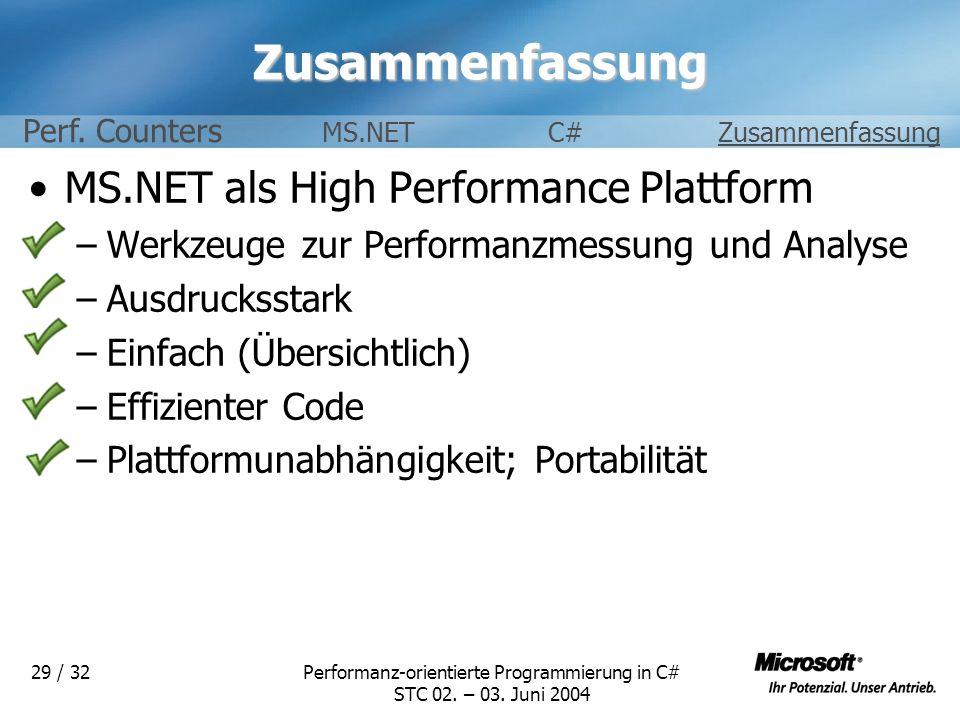 Performanz-orientierte Programmierung in C# STC 02. – 03. Juni 2004 29 / 32Zusammenfassung MS.NET als High Performance Plattform –Werkzeuge zur Perfor
