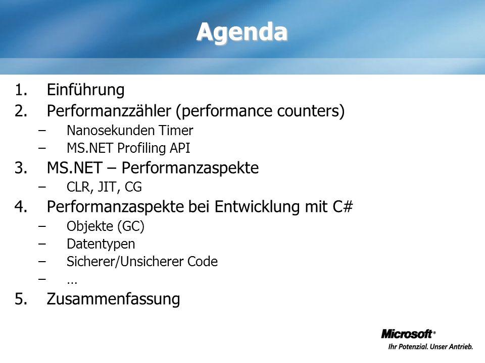 Agenda 1.Einführung 2.Performanzzähler (performance counters) –Nanosekunden Timer –MS.NET Profiling API 3.MS.NET – Performanzaspekte –CLR, JIT, CG 4.P