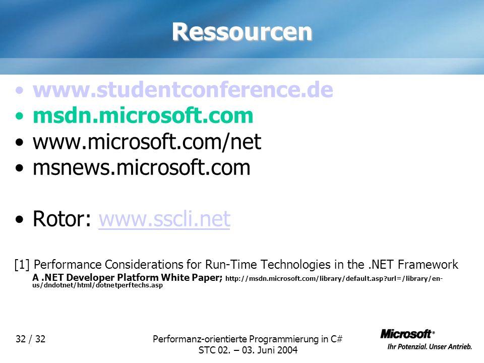 Performanz-orientierte Programmierung in C# STC 02. – 03. Juni 2004 32 / 32Ressourcen www.studentconference.de msdn.microsoft.com www.microsoft.com/ne