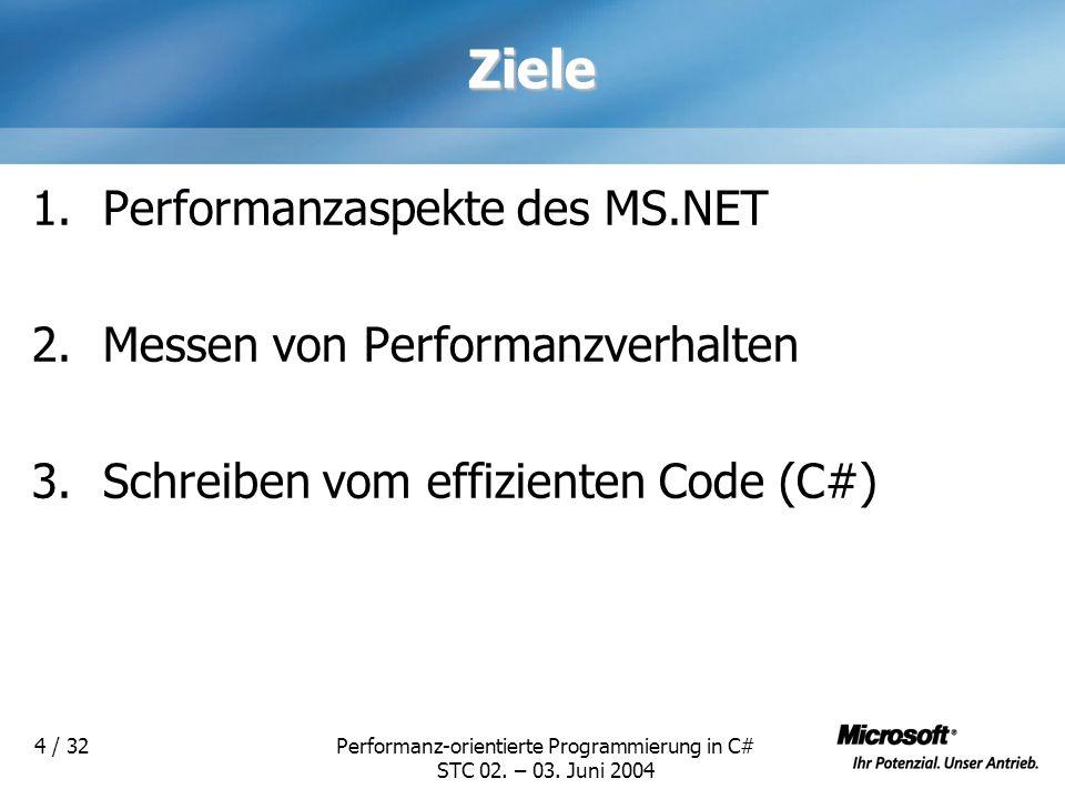 Performanz-orientierte Programmierung in C# STC 02. – 03. Juni 2004 4 / 32Ziele 1.Performanzaspekte des MS.NET 2.Messen von Performanzverhalten 3.Schr