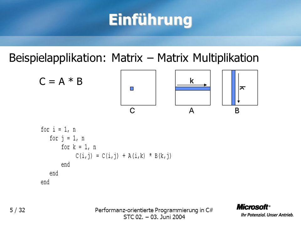 Performanz-orientierte Programmierung in C# STC 02. – 03. Juni 2004 5 / 32Einführung Beispielapplikation: Matrix – Matrix Multiplikation C = A * B