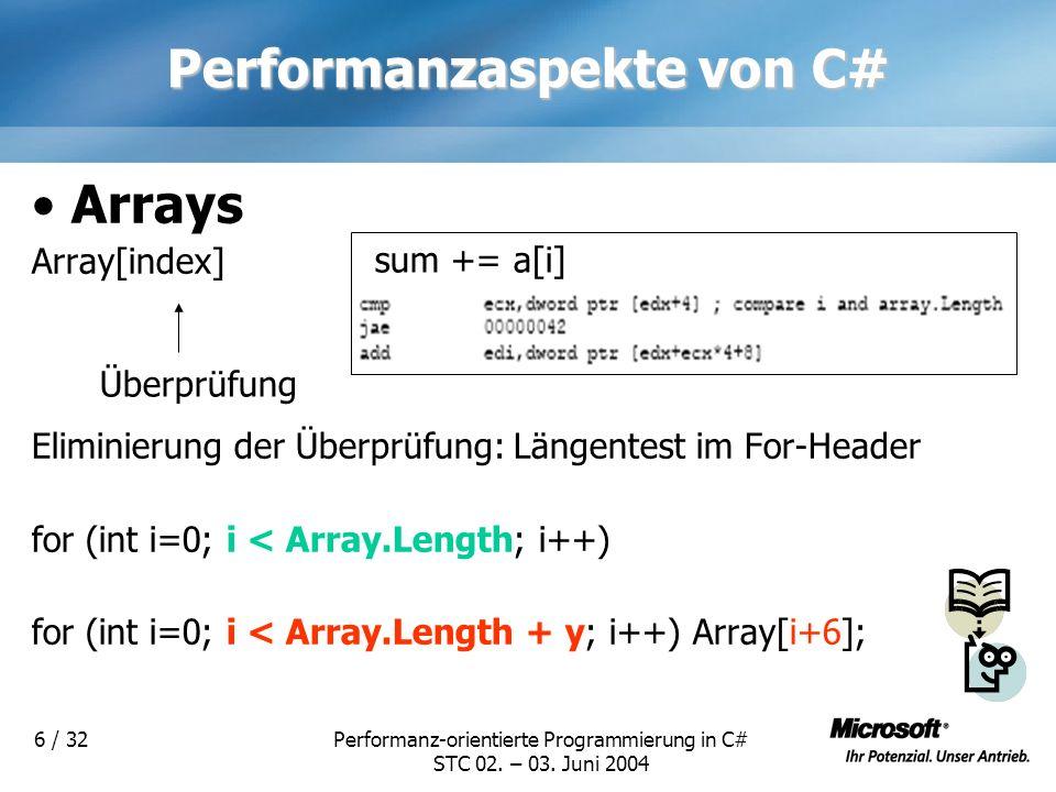 Performanz-orientierte Programmierung in C# STC 02. – 03. Juni 2004 6 / 32 Performanzaspekte von C# Arrays Array[index] Eliminierung der Überprüfung: