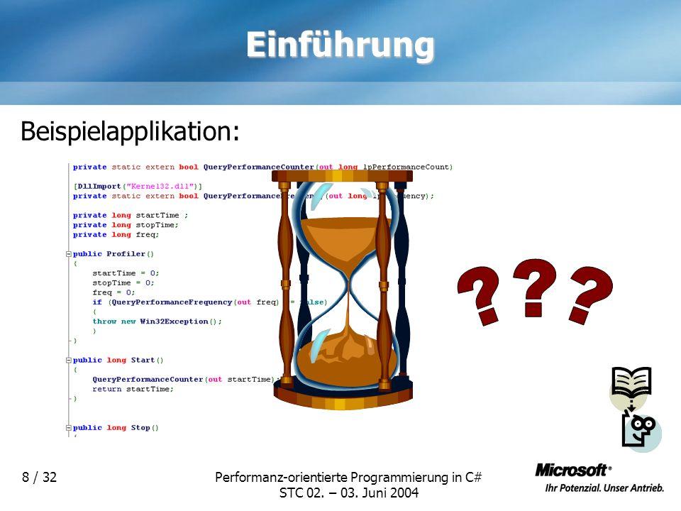 Performanz-orientierte Programmierung in C# STC 02. – 03. Juni 2004 8 / 32Einführung Beispielapplikation: