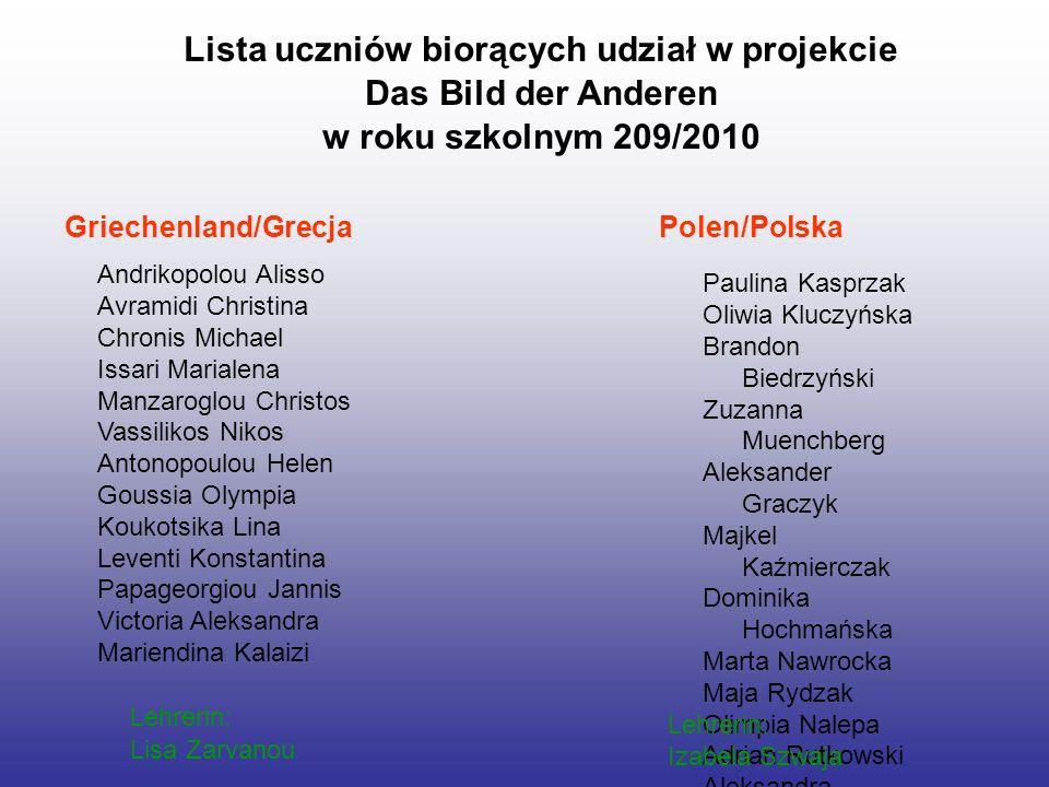 Lista uczniów biorących udział w projekcie Das Bild der Anderen w roku szkolnym 209/2010 Andrikopolou Alisso Avramidi Christina Chronis Michael Issari