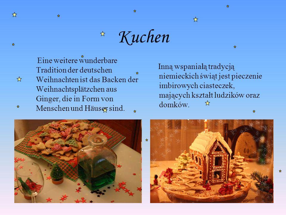 Kuchen Eine weitere wunderbare Tradition der deutschen Weihnachten ist das Backen der Weihnachtsplätzchen aus Ginger, die in Form von Menschen und Häu