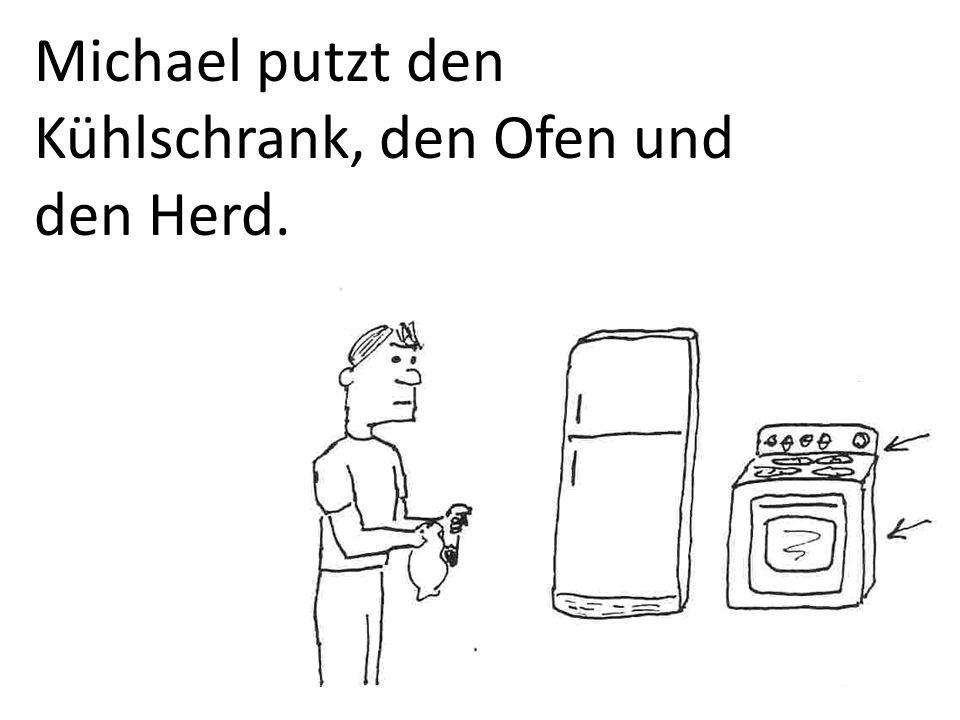 Michael putzt den Kühlschrank, den Ofen und den Herd.