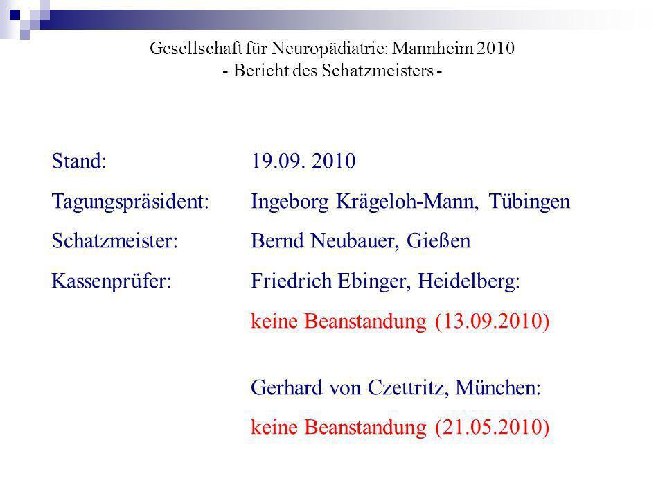 Gesellschaft für Neuropädiatrie: Mannheim 2010 - Bericht des Schatzmeisters - Stand: 19.09. 2010 Tagungspräsident:Ingeborg Krägeloh-Mann, Tübingen Sch
