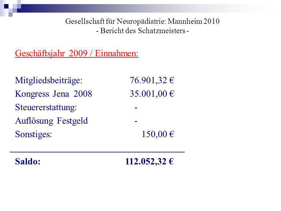 Gesellschaft für Neuropädiatrie: Mannheim 2010 - Bericht des Schatzmeisters - Geschäftsjahr 2009 / Einnahmen: Mitgliedsbeiträge: 76.901,32 Kongress Je