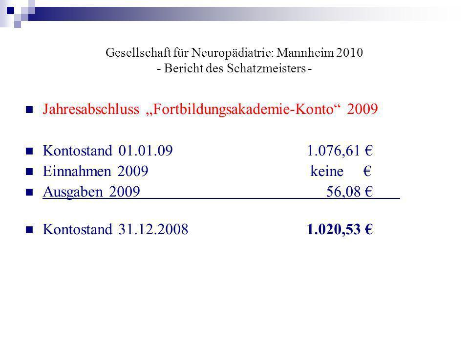 Gesellschaft für Neuropädiatrie: Mannheim 2010 - Bericht des Schatzmeisters - Jahresabschluss Fortbildungsakademie-Konto 2009 Kontostand 01.01.091.076