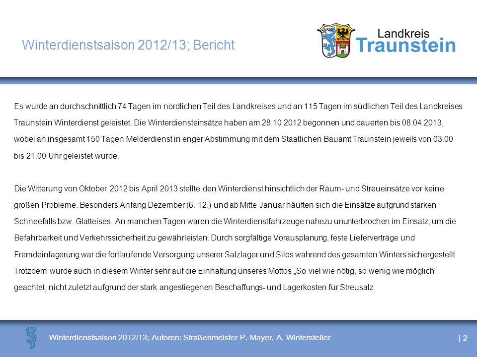 | 2 Winterdienstsaison 2012/13; Autoren: Straßenmeister P. Mayer, A. Wintersteller Winterdienstsaison 2012/13; Bericht Es wurde an durchschnittlich 74