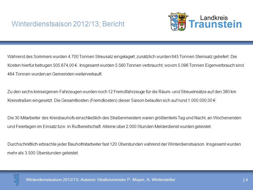 | 4 Winterdienstsaison 2012/13; Autoren: Straßenmeister P. Mayer, A. Wintersteller Winterdienstsaison 2012/13; Bericht Während des Sommers wurden 4.70