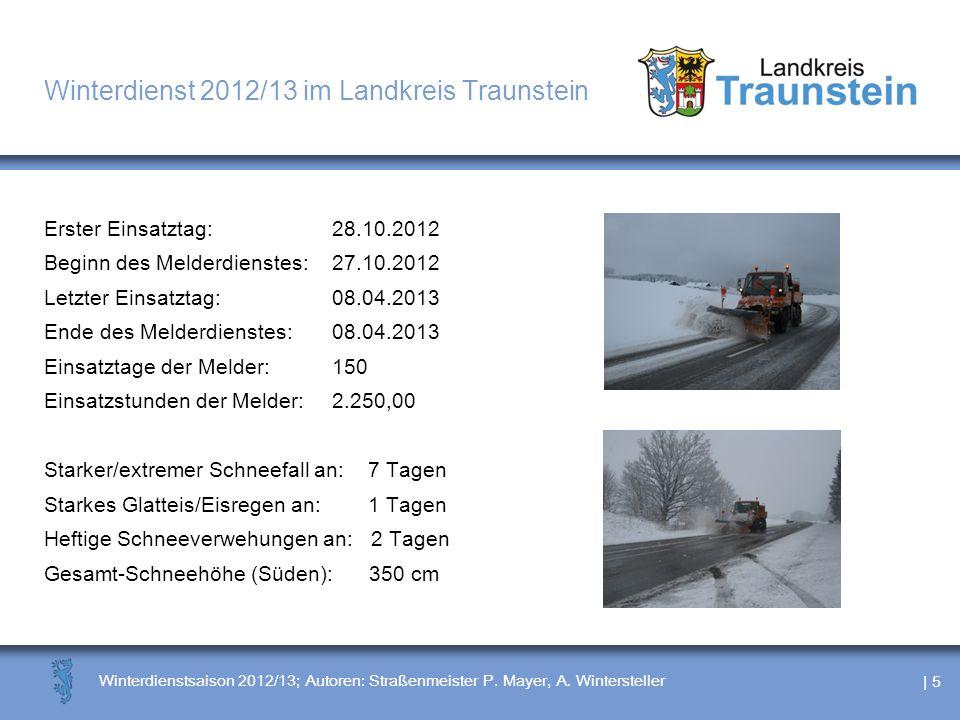 | 5 Winterdienstsaison 2012/13; Autoren: Straßenmeister P. Mayer, A. Wintersteller Winterdienst 2012/13 im Landkreis Traunstein Erster Einsatztag: 28.